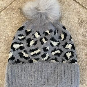 Gray leopard beanie